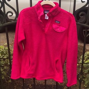 Patagonia Polartec hot pink pull-over Girl's 14-16